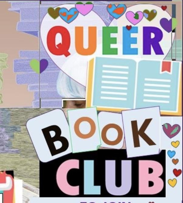 queer book club flyer to contact monique starkey