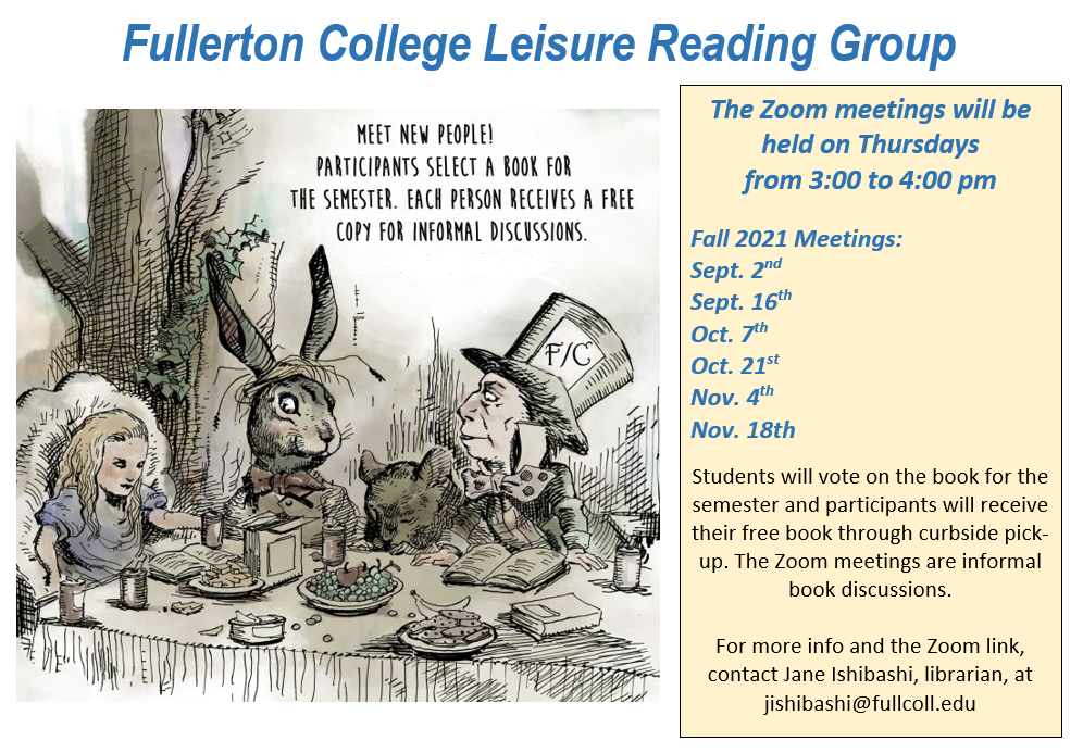 Leisure reading group fall 2021 flyer